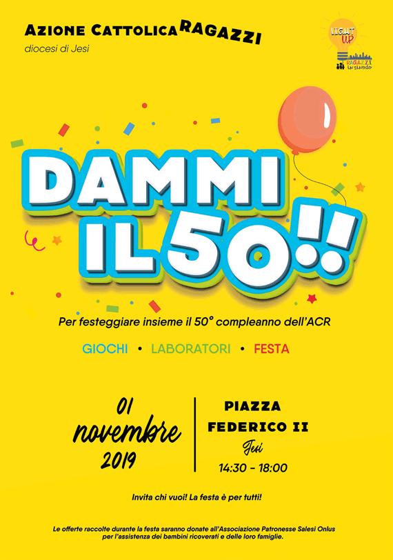 Dammi il 50!! 1 novembre 2019, festa di compleanno dell'ACR